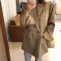 Fashion 2019 Spring New Loose Blazer Suit Women Double Breasted With Pockets Plaid Print Elegant Jacket