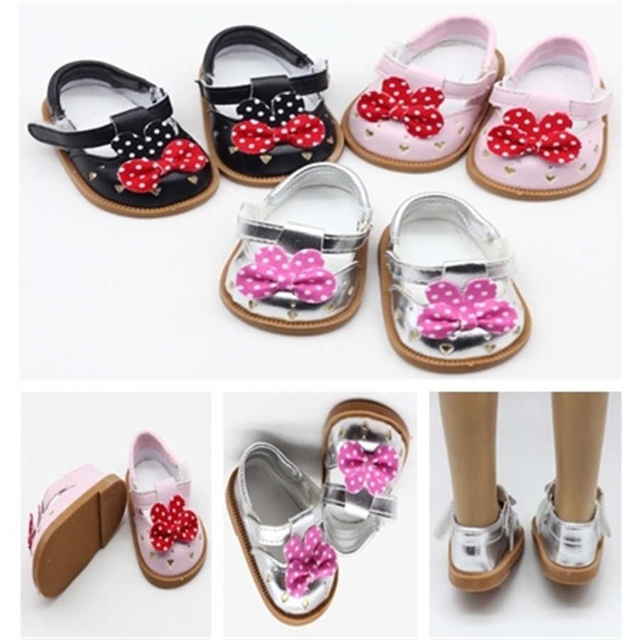 "Moda PU punto Arco-Nudo zapatos muñeca zapatos para 18 ""muñeca americana 43 cm muñeca bebé accesorios niños juguetes de vestir para niña"