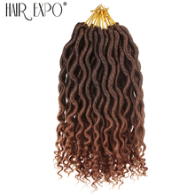 цена на Hair EXpo City 12'' Goddess Faux Locs Curly Ends Short Wavy Synthetic Hair Extensions Crochet Braids 12 Strand/Pack Black Afros