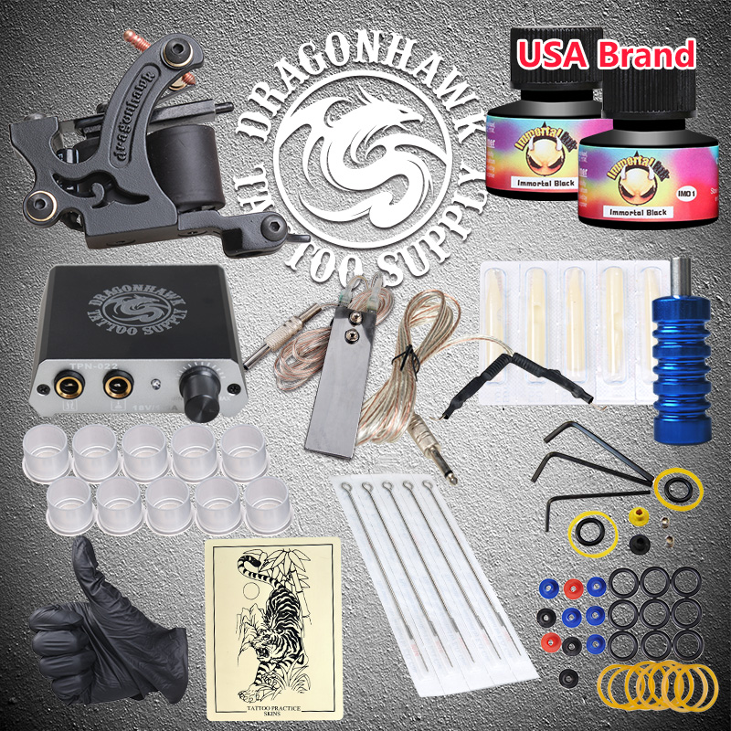 Beginner Tattoo Starter Kits Wrap Coils Tattoo Machine Gun Ink Power Supply Needles beginner tattoo kit 1 machine gun 4 inks needles tattoo power supply d1025gd 2