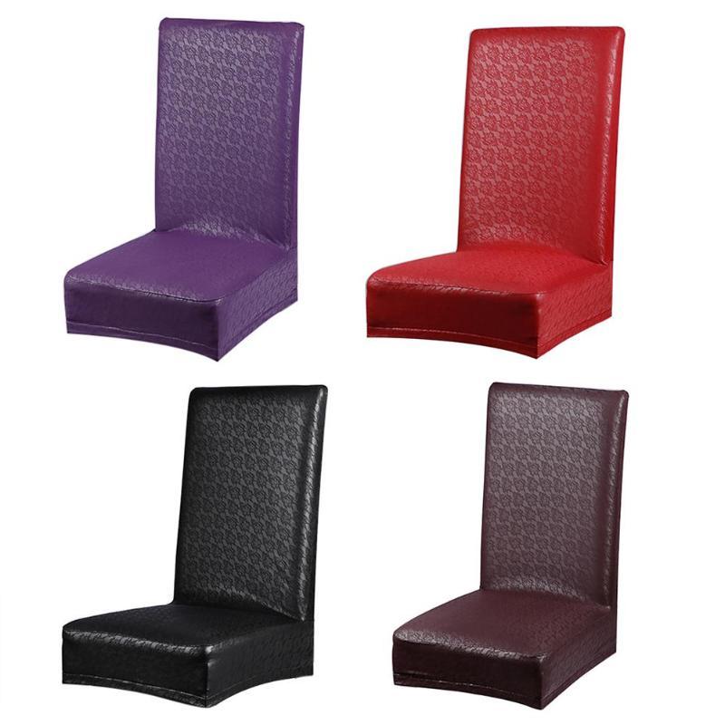 Hogar elástico estiramiento silla respaldo desmontable de cuero PU fundas para banquetes Hotel silla cubierta