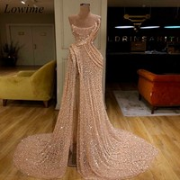 2019 Newest Arabic Mermaid Prom Dresses Long Strapless Sequin High Side Split Evening Red Carpet Prom Party Gowns Free Shipping