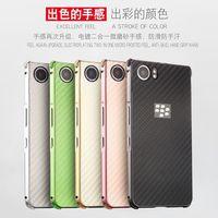 For Blackberry KEY One Carbon Fiber Pattern PC Back Cover Metal Aluminum Frame Set Anti Knock