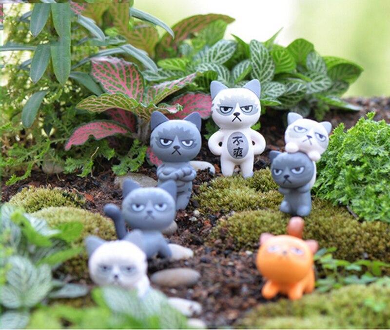 6pcs Cartoon Cat Fairy Garden Miniatures Plastic Crafts Terrarium