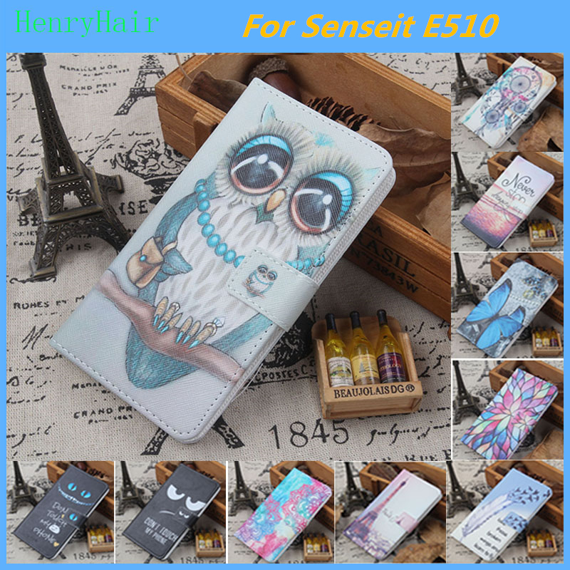 Hot! Cartoon Pattern PU Leather Cover Case Flip Card Holder Cover For Senseit E510 Wallet Phone Cases