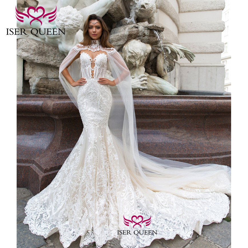 Sweetheart Neckline Delicate Embroidery Mermaid Wedding Dresses 2020 Pure White Button Illusion Bride Dress Wedding Gowns W0589