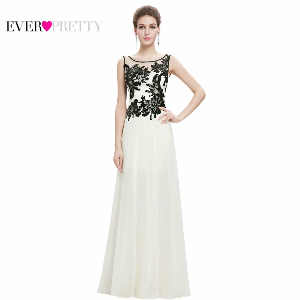 [Clearance Sale] Elegant Evening Dresses Ever Pretty EP08751 Appliques Round Neck Long Evening Formal Party Dress With Sequined