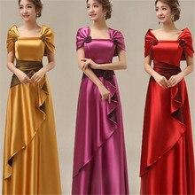 2016 Yeni Hususi Made Kat Uzunluk İnce Katı 6XL 7XL artı Boyutu Hanım Parti Elbiseler Vintage Saten Uzun Maxi Elbise Femme