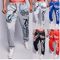 2016 Spring Autumn New Clothes Elastic Waist   Pantalon Homme Joggers Letters Printed Men's Fashion Casual Hip Hop Pants