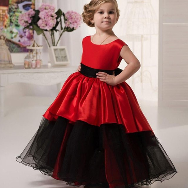 881d4f15c2a Red Flower Girl Dresses Ball Gown Girl Prom Party Dresses Black Tulle Tank  Sleeveless Floor Length
