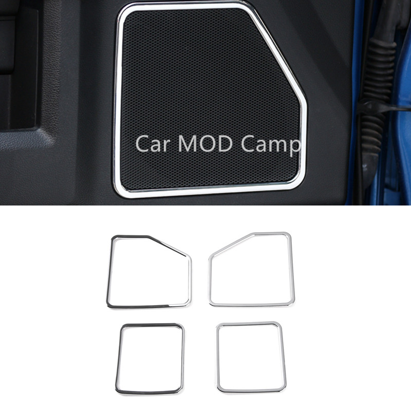 For Ford F150 2015 2016 2017 ABS Interior Car Door Speaker Frame Cover Trim 4pcs Car Styling accessories! car trunk trim strip for ford edge abs chromium styling car boot cover 3d stickers cover for ford edge 2015 2016 accessories