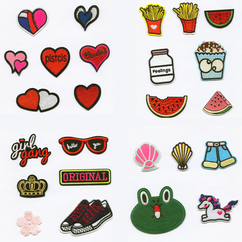 DOUBLEHEE Heart Food Fashion Women DIY Patchwork Patch Embroidered Patches For Clothing Iron On For Close Shoes Bags Badges in Patches from Home Garden
