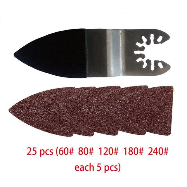 25 Pcs Multifunctionele Polijsten Driehoekige Schuurmachine Schuren Lakens + Schuren Pad Voor Oscillerende Power Tool Accessoires