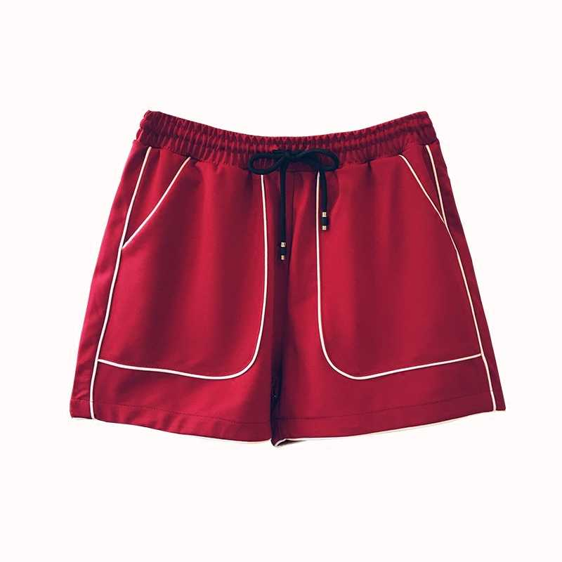 Danjeaner marka kobiety elastyczny sznurek do ściągania talii spodenki sportowe moda stałe spodnie szerokie nogawki spodenki z duże kieszenie lato krótkie spodnie
