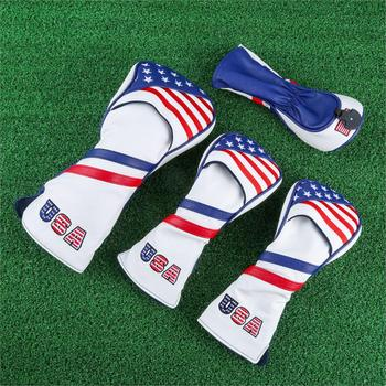 1/3/4 Pcs USA Flag Golf Wood Headcovers Set For Driver/ Fairway/ Hybrid UT FW Cover 1 3 5 Club Heads Covers PU Leather