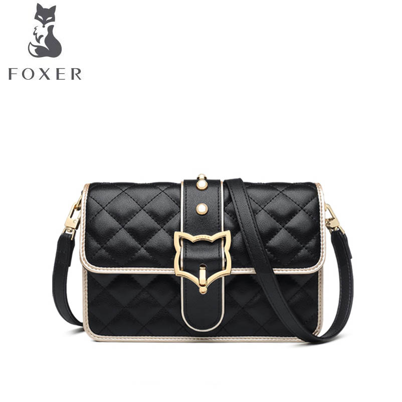 FOXER brand bag female 2018 new fashion hit color Korean version of the shoulder bag Lingge small fragrance wind Messenger bag luxury brand bag female korean version of the new female bag ms shoulder portable canvas bags women messenger bags
