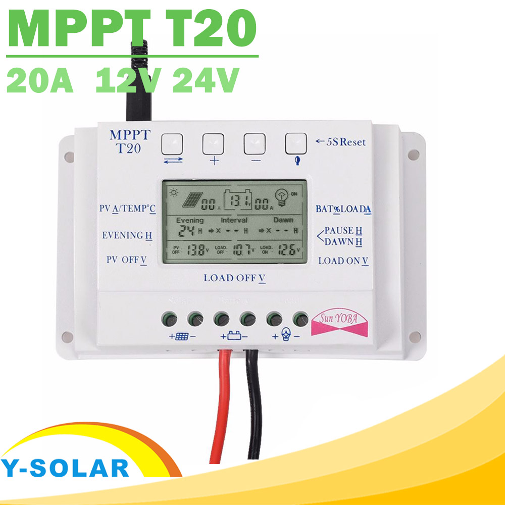 Solar Charge Controller 12V 24V 20A Solar Panel Battery Regulator with Load Light and Timer Control Big LCD Display T20 Y-SOLAR 20a duo battery solar regulator solar charge controller 12 24v for two battery