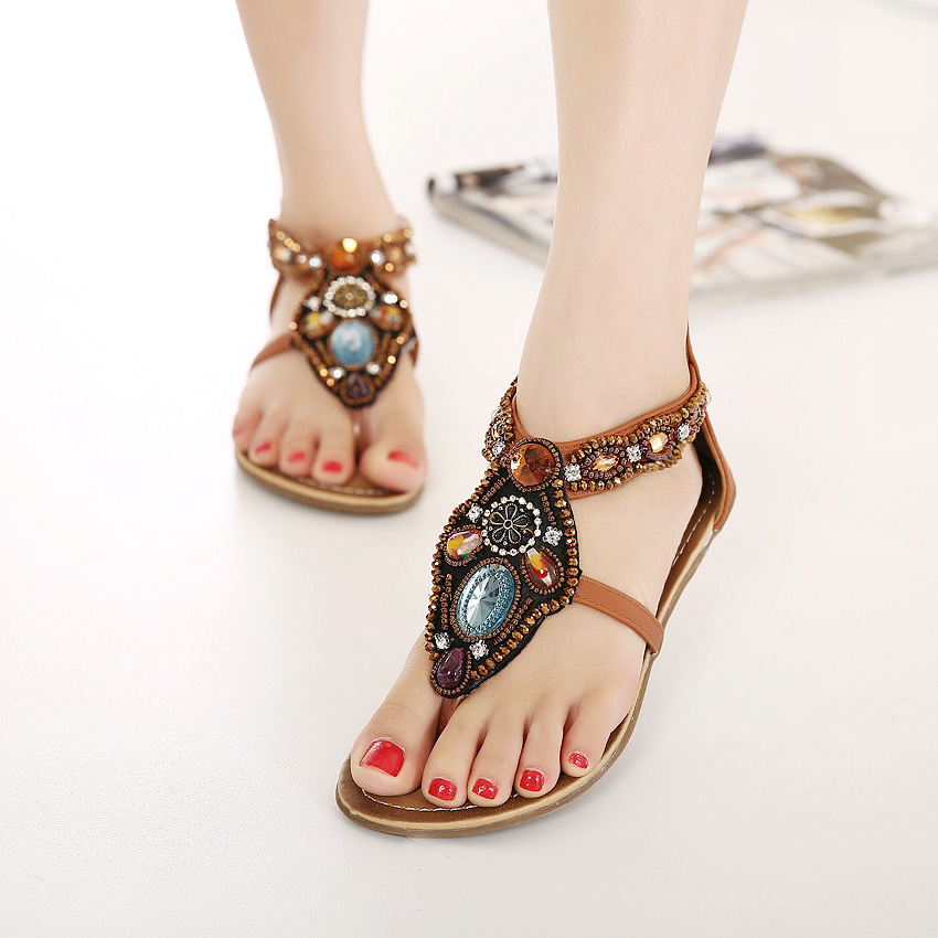 c50905594415 Shoes woman 2017 Summer shoes flat sandals women Bohemia Handmade Beaded Flats  Female Sandals Pearl Rhinestone Flat Sandals