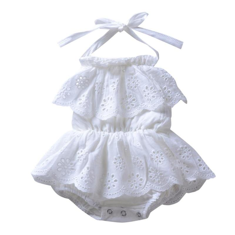 Cute Summer Girls White Dress Baby Backless Solid Color Halter Beach Romper Dress One-Piece Swimwear Infant Summer Clothes