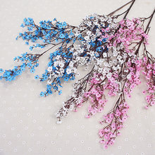 pink cherry blossom plastic branch artificial silk flowers sakura for wedding home store decoration white fake flowers DIY dec(China)