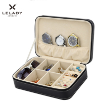 24 16 7cm Small Jewelry Case Portable Travel PU Zipper Sunglasses Jewelry Organizer Box Sub Grid