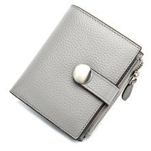 Купить с кэшбэком Casual Women Wallets Card Pocket Short Money Wallets Real Leather Lady Zipper Coin Pocket Purse Female Fashion Cardbag Gray
