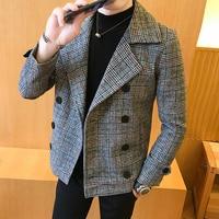 Trend 2019 new double breasted windbreaker fashion retro tartan coat large size 5XL slim short coat men's banquet party dress