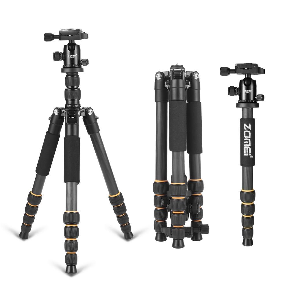 Professional Q666C portable travel carbon fiber tripod Monopod&Ball head for DSLR SLR digital camera