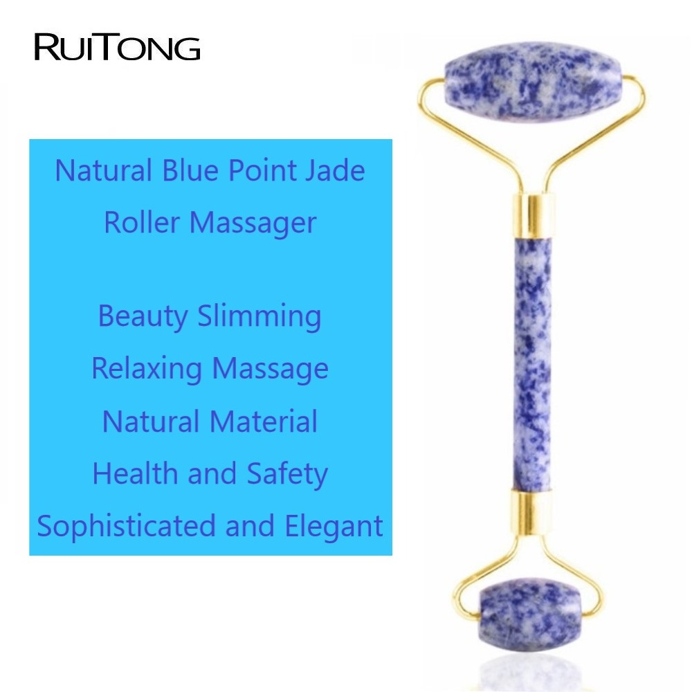 10Pcs lot Natural Blue Point Jade Facial Massage Roller Slimming Face Massager Lifting Tool Natural Jade Massage Tools Wholesale in Massage Relaxation from Beauty Health