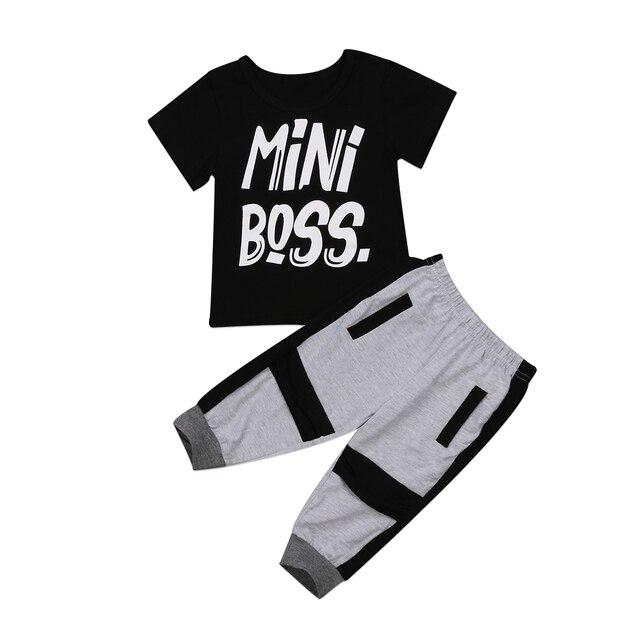 ce5bbcbb0 Casual Toddler Kids Baby Boy Clothes Set Mini Boss T shirt Tops ...