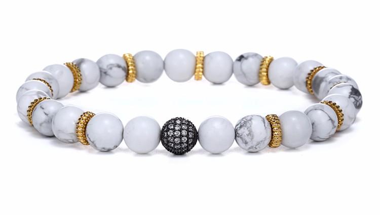 Bracelet Length:180-210mm   Nature Stone Bead size:8mm   CZ Bead size:10mm Bracelet Material:Nature Stone/Copper/CZ Paved Color:White/Blue