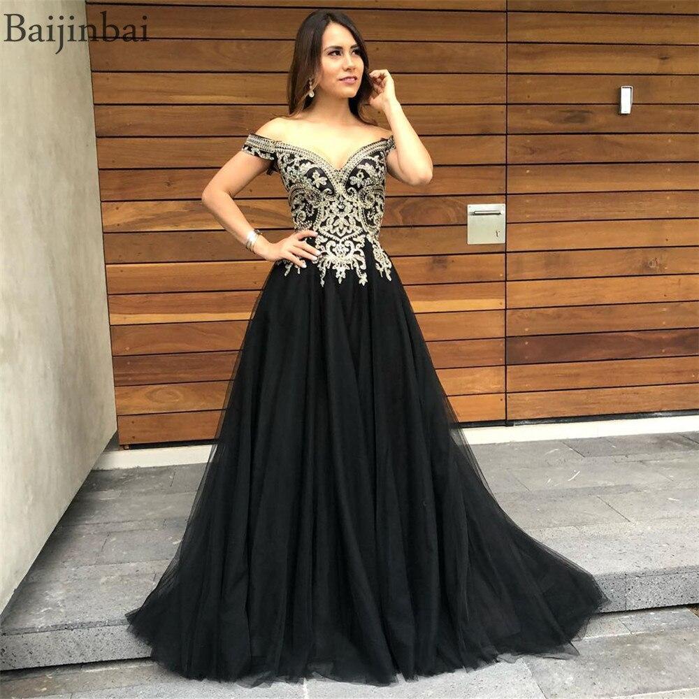 Baijinbai Robe De soirée noire Robe De soirée longue Tulle robes De bal Appliques dentelle hors De l'épaule fête robes formelles femmes
