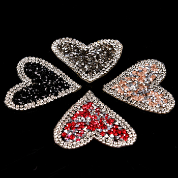 3D Handmade Rhinestone beaded es for clothing Heart Applique parches for clothes Sequin beading image