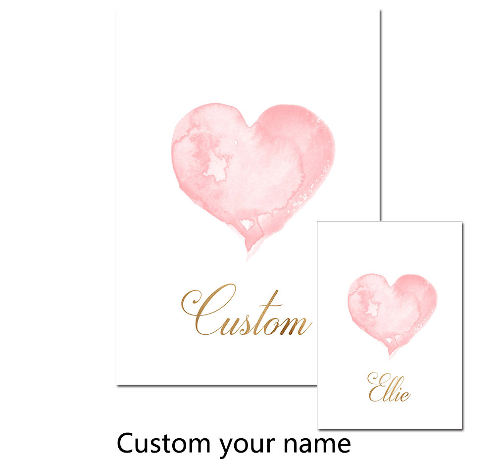 Modern Cute Pink Love Custom Name Poster Print Canvas Painting Picture Home Children 39 s Room Wall Art Decoration Wall Stickers in Painting amp Calligraphy from Home amp Garden