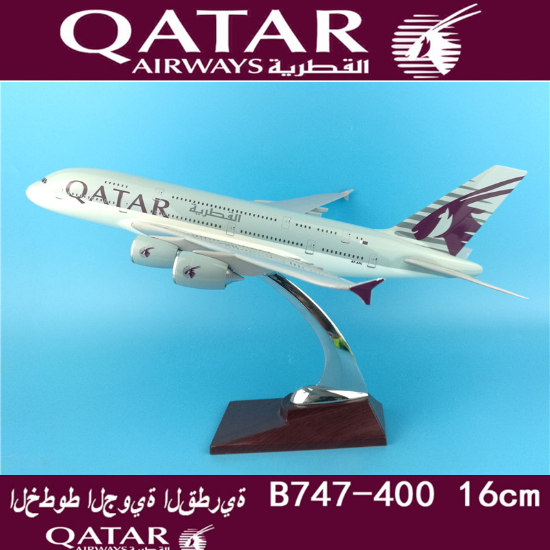 37CM <font><b>1</b></font>:<font><b>200</b></font> Airbus A380 QATAR <font><b>airplane</b></font> aircraft plane alloy static solide <font><b>model</b></font> with base collectible display toy collection image