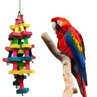 Parrot Building Blocks Toys Wood Ladder Macaw Rainbow Bite String Toys Chewing Swing Toy For Small Medium And Large Parrots