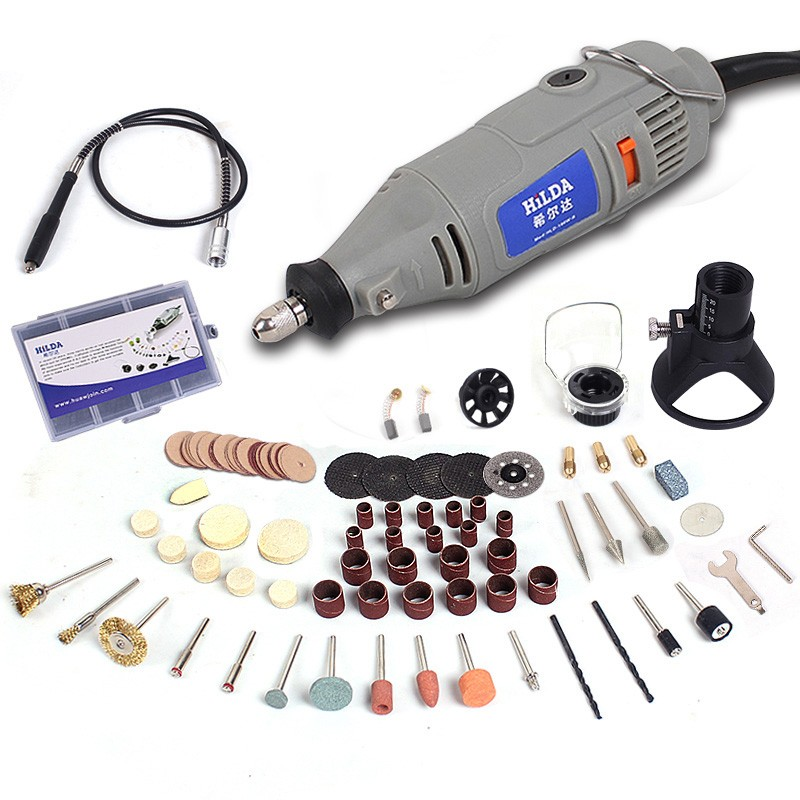 ФОТО HILDA 220V 150W with 133pcs Accessories Electric Rotary Tool Variable Speed Mini Drill with Flexible Shaft Power Tools