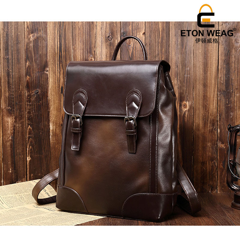 ETONWEAG New 2017 women brands Italian leather brown luxury casual cover travel bag preppy style backpacks
