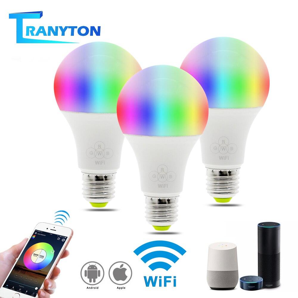 Smart Light LED Smart Bulb E27 AC85-265V 6.5W Wifi Bulb Work With Amazon Alexa & Google Home RGBW / Double White LED Lamp Light.Smart Light LED Smart Bulb E27 AC85-265V 6.5W Wifi Bulb Work With Amazon Alexa & Google Home RGBW / Double White LED Lamp Light.