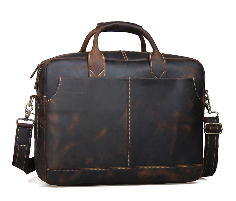 Nesitu Vintage Brown Durable Thick Crazy Horse Genuine Leather Men Briefcase Portfolio 14'' Laptop Men Messenger Bags #M10192