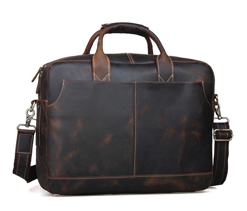 Nesitu Vintage Brown Durable Thick Crazy Horse Genuine Leather Men Briefcase Portfolio 14'' Laptop Men Messenger Bags #M10192