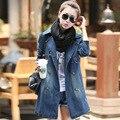 2016 Hot sale Da Moda Mulheres Primavera do Outono Roupas casaco longo Jaqueta Jeans Longa Buracos Soltos Mulheres Jaqueta C038