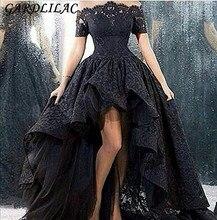Новый с плеча Hi-Lo платье для выпускного вечера кружева короткий рукав вечернее платье 2018 Высокая Низкая мать Свадебная вечеринка платье Макси