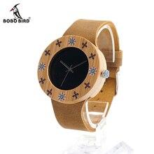 BOBO de AVES de Las Mujeres Diseño Marca de Relojes de Lujo de Bambú de Madera Para Las Señoras Con Cuero Real Reloj de Cuarzo Japonés Miyota Movimiento