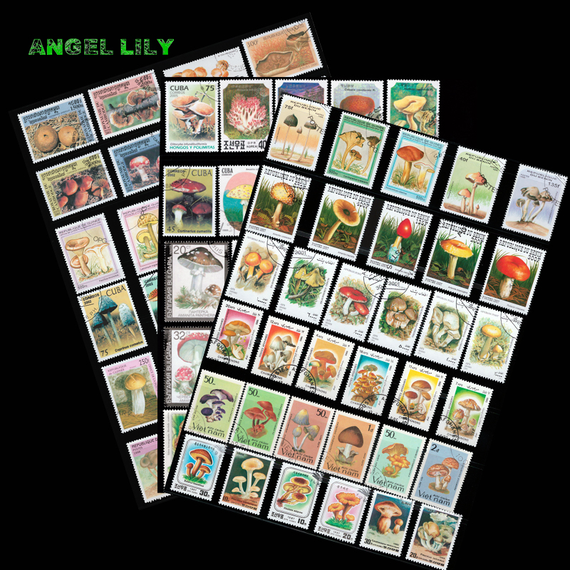 100 PCS/lot Mushroom Theme Postage Post Stamps With Post Mark Off Paper For Collection