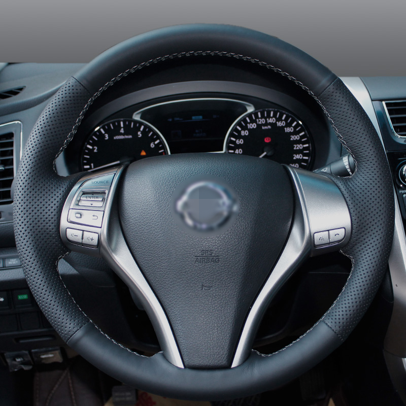 Shining wheat Hand stitched Black Leather Steering Wheel Cover for Nissan 2013 Teana 2014 X Trail QASHQAI Sentra in Steering Covers from Automobiles Motorcycles
