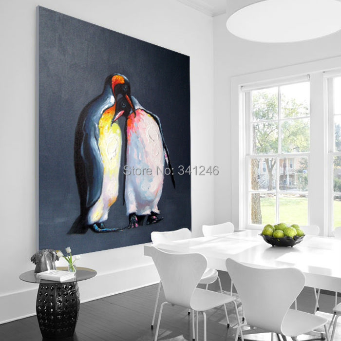 Online Shop 100% Hand Painted Modern Wall Art Picture Living Room Home Decor  Abstract Penguin Cartoon Animal Oil Painting On Canvas Unframed |  Aliexpress ...