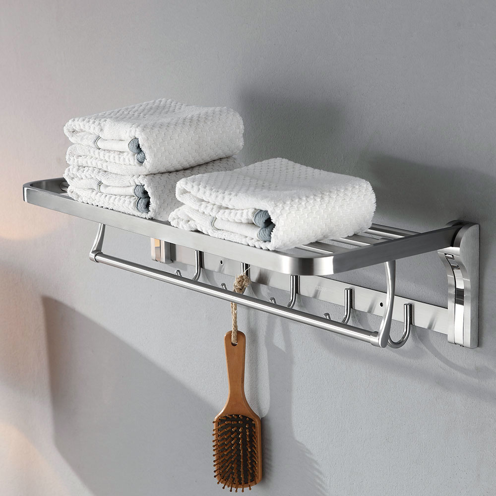 50cm 60cm stainless steel bath towel rack folding movable bath towel holder double towel rails - Bathroom Towel Holder