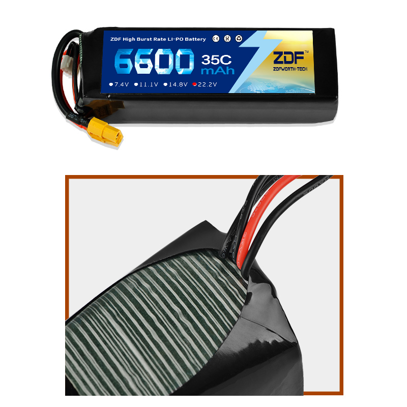 ZDF Lipo Battery 6600mAh Lipo 22.2V 6S Battery Pacl 35C Professional Drone for F5 UAV RC Batteries High Quality zdf lipo battery 22 2v 26000mah 6s 25c lipo battery as150 plug batteries for quadcopter uav rc helicopter drone