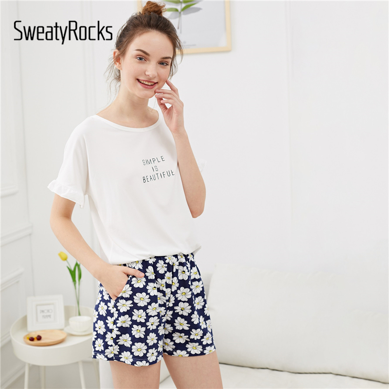 SweatyRocks Flower And Letter Print   Pajama     Set   Cute Ruffle Sleeve   Pajamas   For Women 2019 Summer Short Sleeve Casual Nightwear